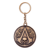 Assassins Creed IV : Round Metal Skull Keychain